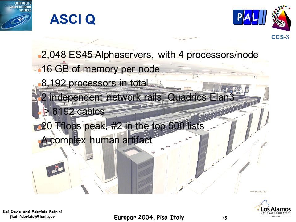 Kei Davis and Fabrizio Petrini {kei,fabrizio}@lanl.gov Europar 2004, Pisa Italy 45 CCS-3 P AL ASCI Q n 2,048 ES45 Alphaservers, with 4 processors/node n 16 GB of memory per node n 8,192 processors in total n 2 independent network rails, Quadrics Elan3 n > 8192 cables n 20 Tflops peak, #2 in the top 500 lists n A complex human artifact