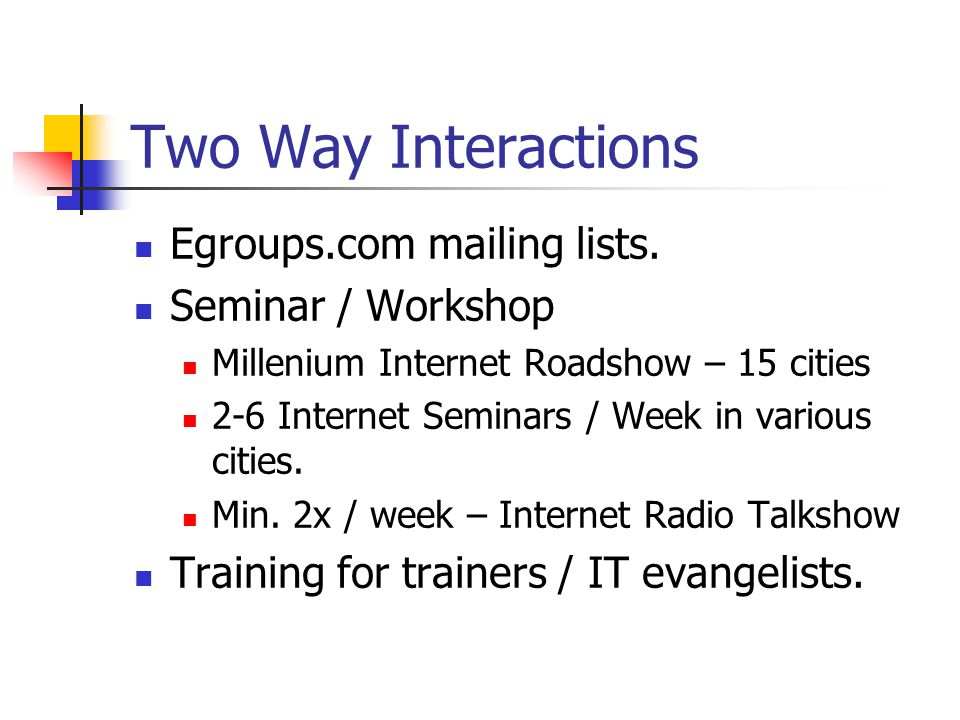 Two Way Interactions Egroups.com mailing lists. Seminar / Workshop Millenium Internet Roadshow – 15 cities 2-6 Internet Seminars / Week in various cit