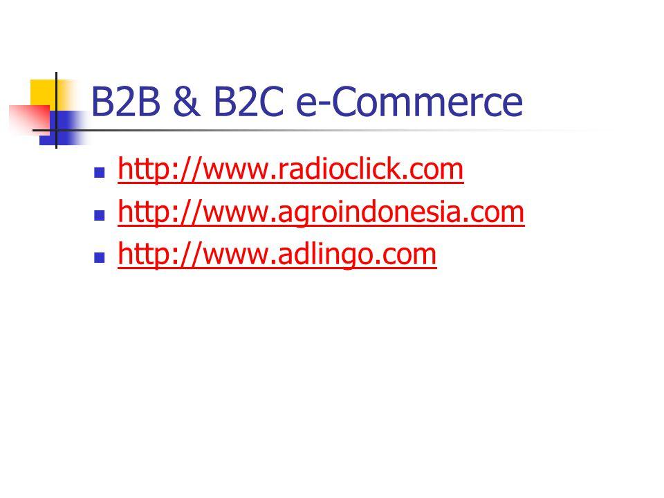 B2B & B2C e-Commerce http://www.radioclick.com http://www.agroindonesia.com http://www.adlingo.com