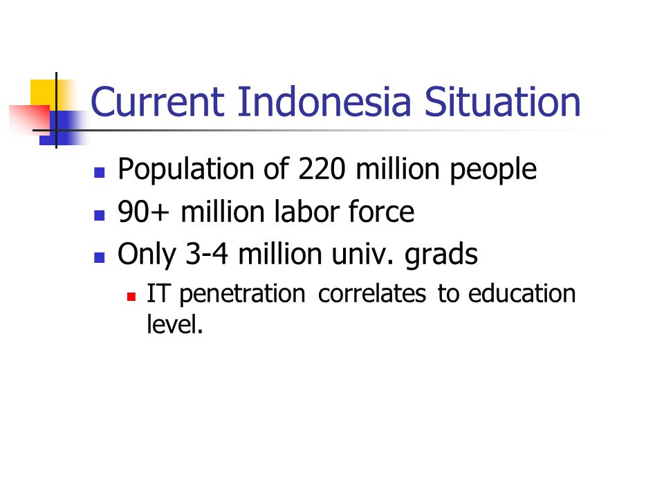 Current Indonesia Situation Population of 220 million people 90+ million labor force Only 3-4 million univ. grads IT penetration correlates to educati