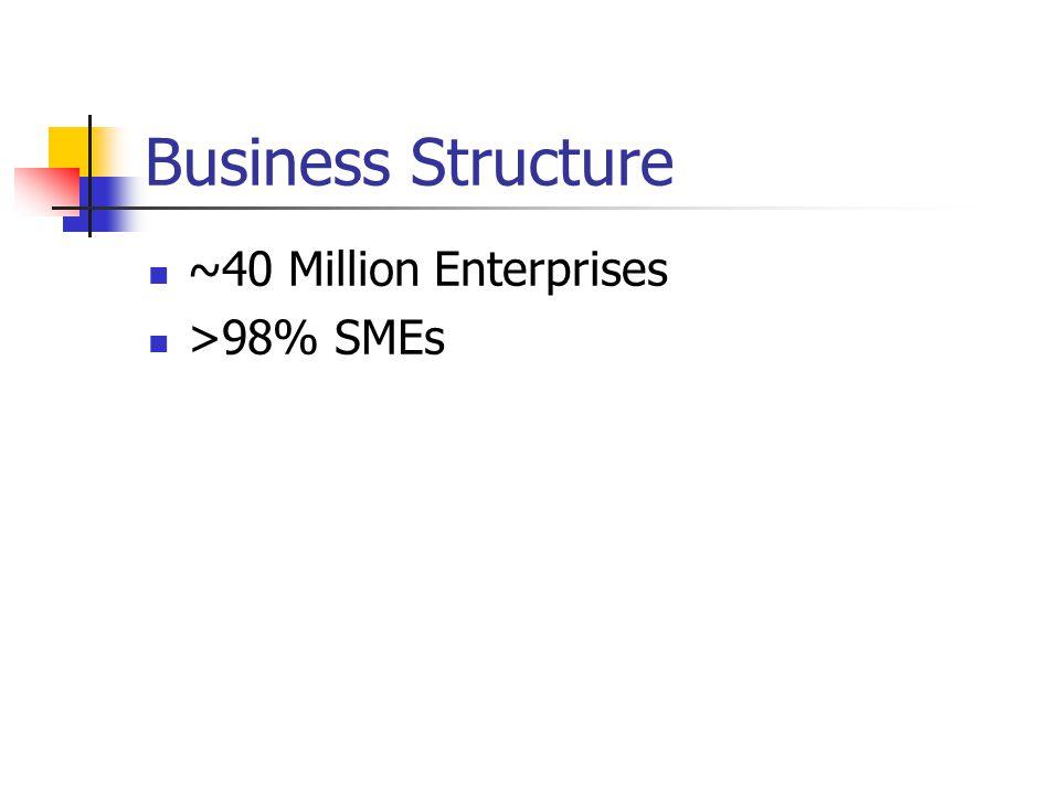Business Structure ~40 Million Enterprises >98% SMEs