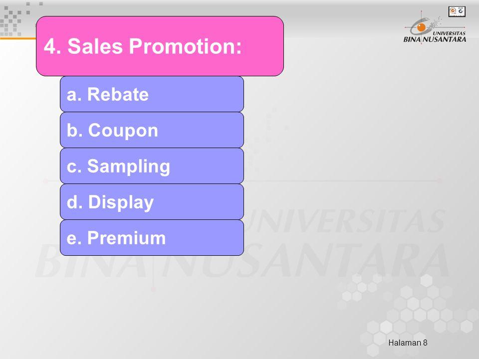 Halaman 8 4. Sales Promotion: a. Rebate b. Coupon c. Sampling d. Display e. Premium