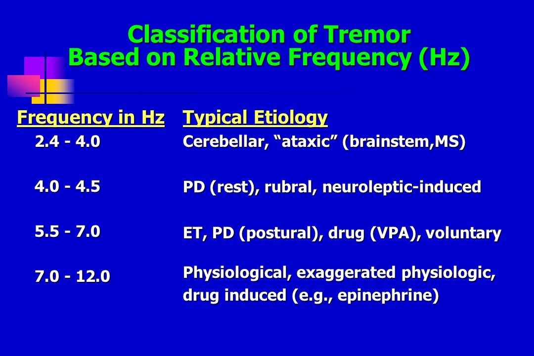 Classification of Tremor Based on Relative Frequency (Hz) Frequency in Hz 2.4 - 4.0 4.0 - 4.5 5.5 - 7.0 7.0 - 12.0 Typical Etiology Cerebellar, ataxic (brainstem,MS) PD (rest), rubral, neuroleptic-induced ET, PD (postural), drug (VPA), voluntary Physiological, exaggerated physiologic, drug induced (e.g., epinephrine)