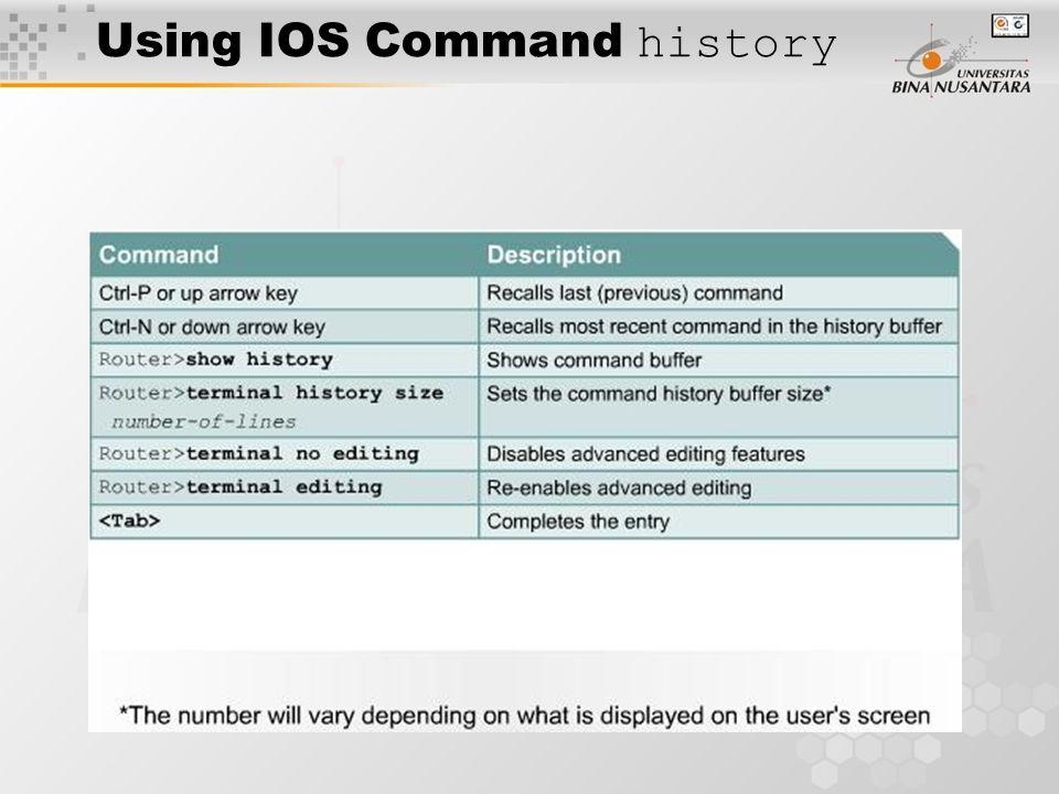 Using IOS Command history