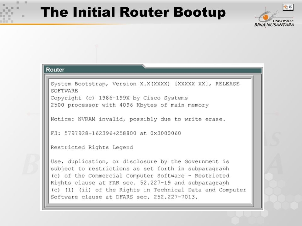 The Initial Router Bootup