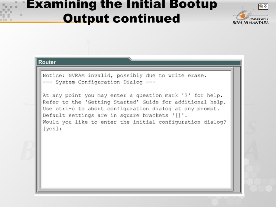Examining the Initial Bootup Output continued