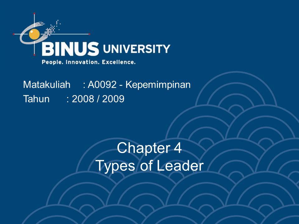 Chapter 4 Types of Leader Matakuliah: A0092 - Kepemimpinan Tahun: 2008 / 2009