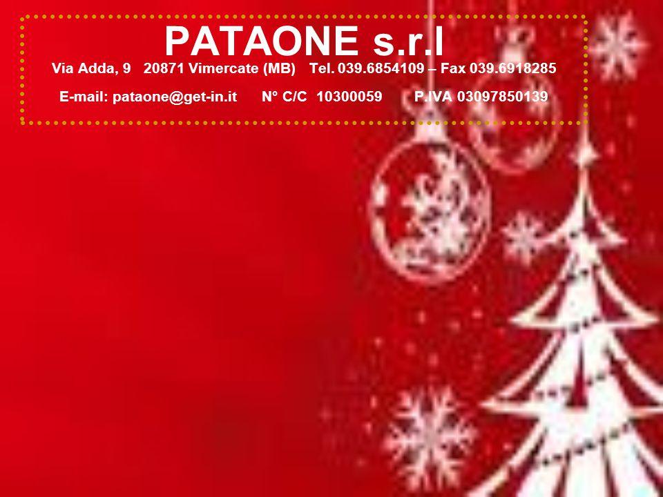 PATAONE s.r.l Via Adda, 9 20871 Vimercate (MB) Tel. 039.6854109 – Fax 039.6918285 E-mail: pataone@get-in.it N° C/C 10300059 P.IVA 03097850139