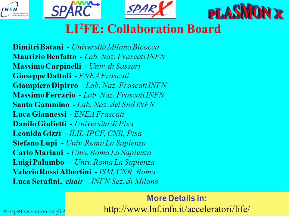 Prospettive Future con gli Accel. a LNF, 11-06-2010 LI 2 FE: Collaboration Board Dimitri Batani - Università Milano Bicocca Maurizio Benfatto - Lab. N