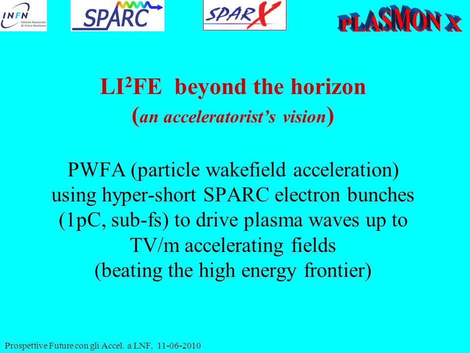 Prospettive Future con gli Accel. a LNF, 11-06-2010 LI 2 FE beyond the horizon ( an acceleratorist's vision ) PWFA (particle wakefield acceleration) u