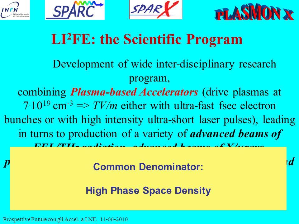 Prospettive Future con gli Accel. a LNF, 11-06-2010 Development of wide inter-disciplinary research program, combining Plasma-based Accelerators (driv