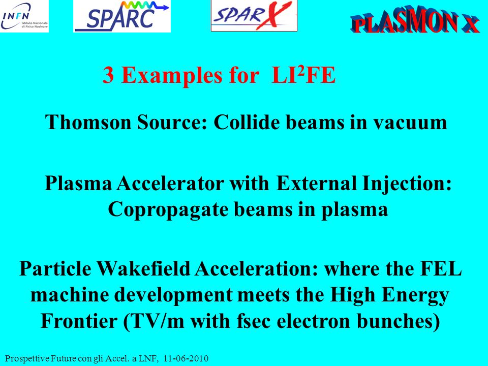 Prospettive Future con gli Accel. a LNF, 11-06-2010 Thomson Source: Collide beams in vacuum 3 Examples for LI 2 FE Plasma Accelerator with External In