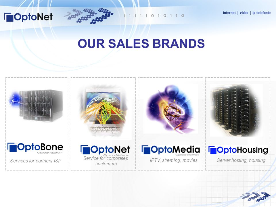 OUR SALES BRANDS Services for partners ISP Service for corporates customers Server hosting, housingIPTV, streming, movies