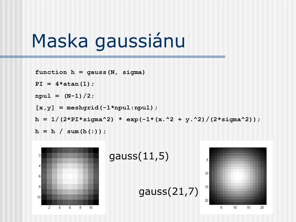 Poškození obrázku function g = poskod(f, h, SNR) g1 = conv2(f, h); MinI = min(g1(:)); MaxI = max(g1(:)); var_f = var(f(:)); var_n = var_f / 10^(SNR / 10); g = g1 + var_n*randn(size(g1)); g(g<MinI) = MinI; g(g>MaxI) = MaxI;