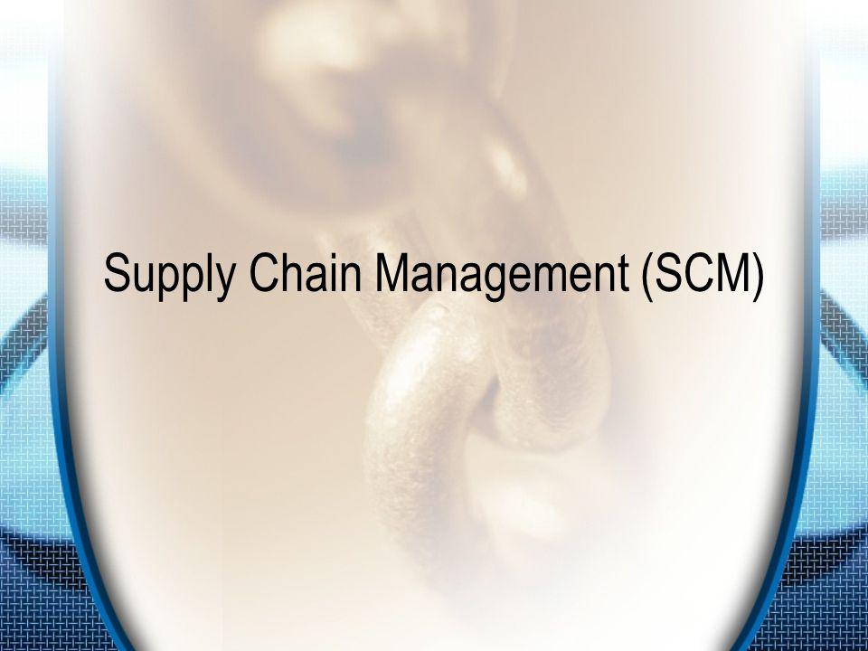 Definisi SCM SCM adalah koordinasi aliran bahan baku / material, informasi dan keuangan antar entitas yang berpartisipasi dalam transaksi bisnis –Aliran material : aliran produk secara fisik dari pemasok ke pelanggan, termasuk di dalamnya pengembalian produk (retur), layanan (services), pengolahan ulang (recycling) dan pembuangan (disposal) –Aliran informasi : meliputi ramalan permintaan, transmisi pembelian dan laporan status pengiriman barang –Aliran Keuangan : meliputi informasi kartu kredit, syarat kredit, jadwal pembayaran.