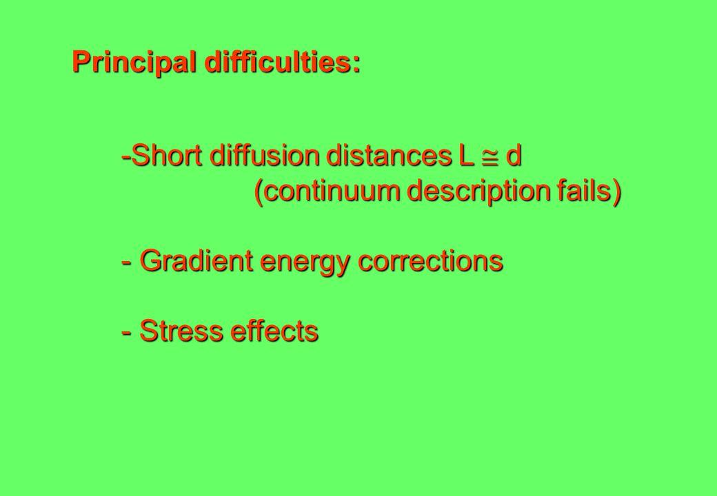 Principal difficulties: -Short diffusion distances L  d (continuum description fails) - Gradient energy corrections - Stress effects
