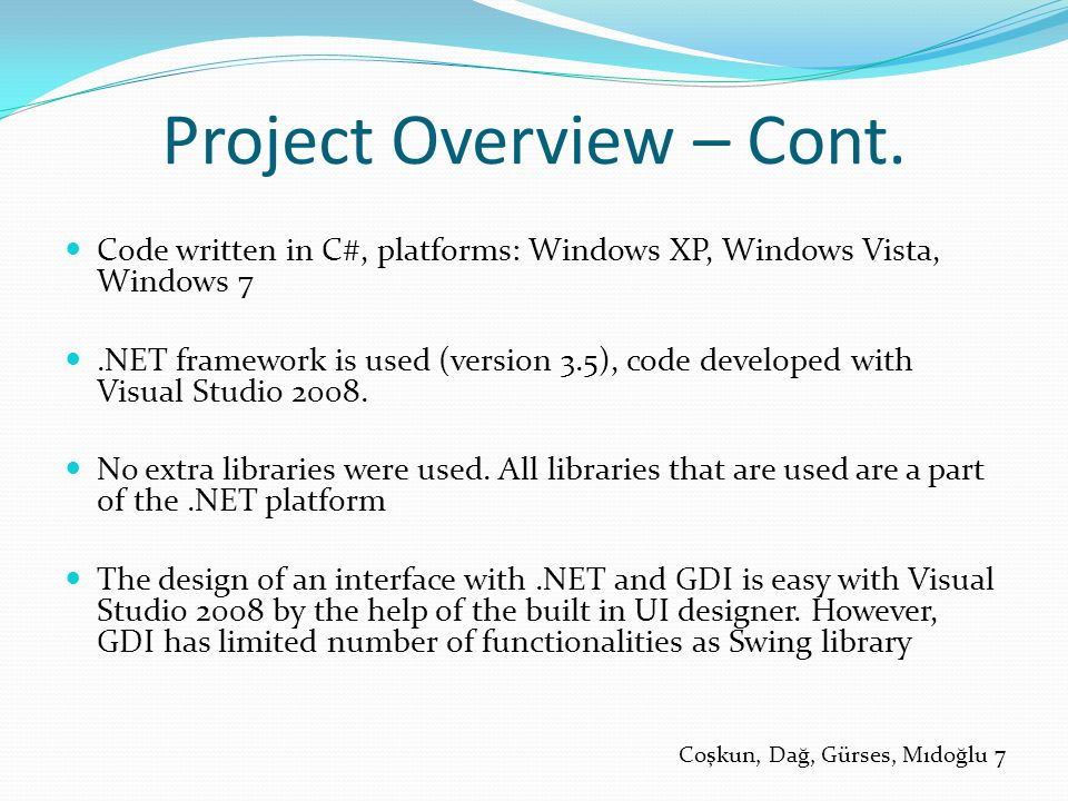 Project Overview – Cont.