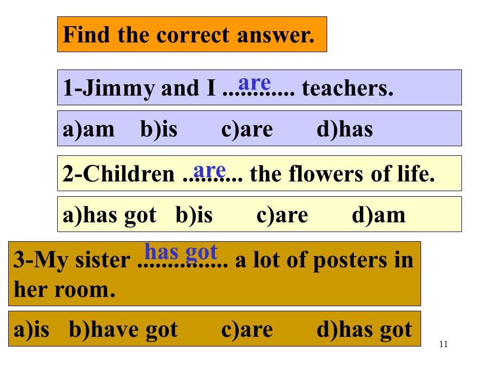 11 Find the correct answer. 1-Jimmy and I............ teachers. a)am b)is c)are d)has 2-Children.......... the flowers of life. a)has got b)is c)are d