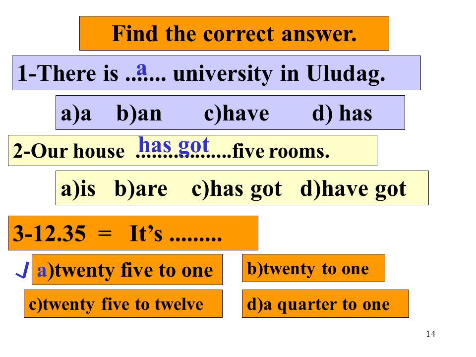 14 Find the correct answer. 1-There is....... university in Uludag. a)a b)an c)have d) has 2-Our house..................five rooms. a)is b)are c)has g