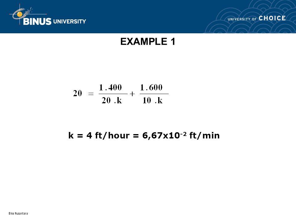 Bina Nusantara EXAMPLE 1 k = 4 ft/hour = 6,67x10 -2 ft/min