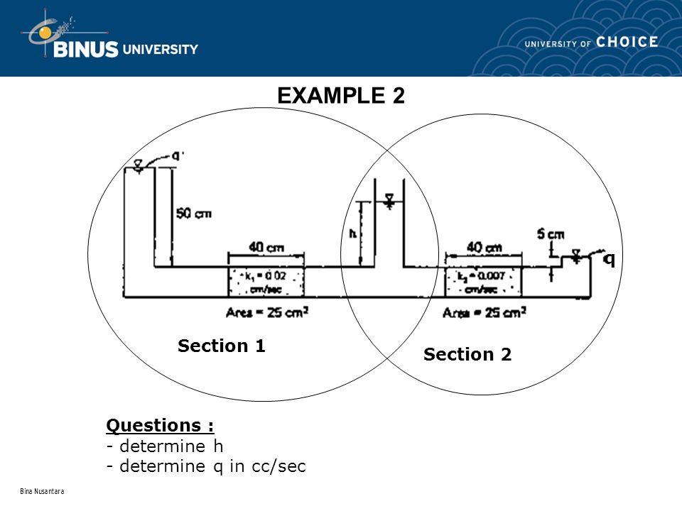 Bina Nusantara EXAMPLE 2 q Questions : - determine h - determine q in cc/sec Section 1 Section 2