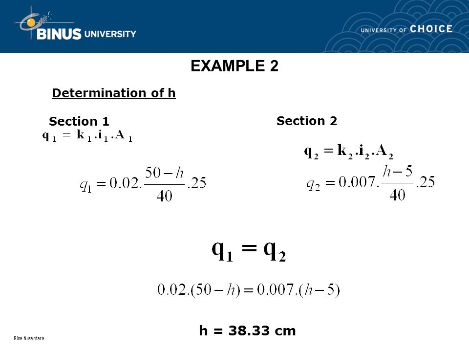 Bina Nusantara EXAMPLE 2 Section 1 Section 2 h = 38.33 cm Determination of h