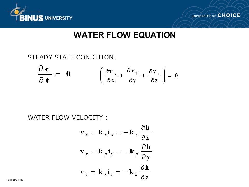 Bina Nusantara WATER FLOW EQUATION STEADY STATE CONDITION: WATER FLOW VELOCITY :