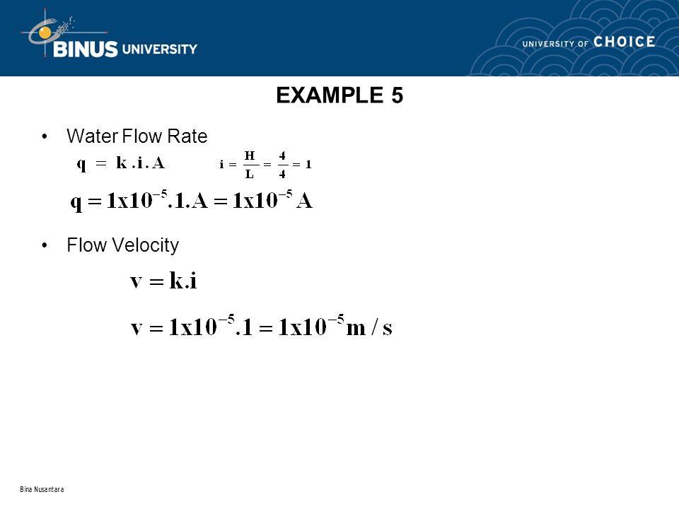 Bina Nusantara EXAMPLE 5 Water Flow Rate Flow Velocity