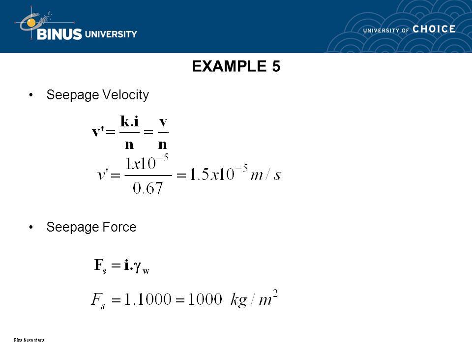 Bina Nusantara EXAMPLE 5 Seepage Velocity Seepage Force