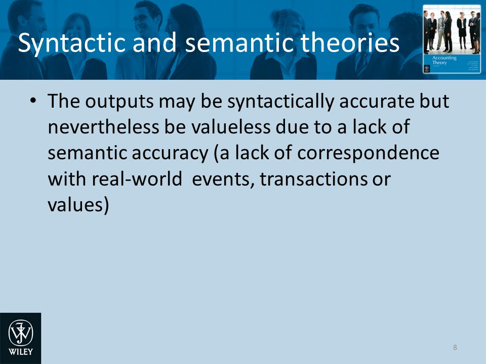 Syntactic and semantic theories Historic cost accounting may produce 'accurate' outputs but which nevertheless have little or no utility That is, they are not useful for economic decision making except to verify accounting entries 9