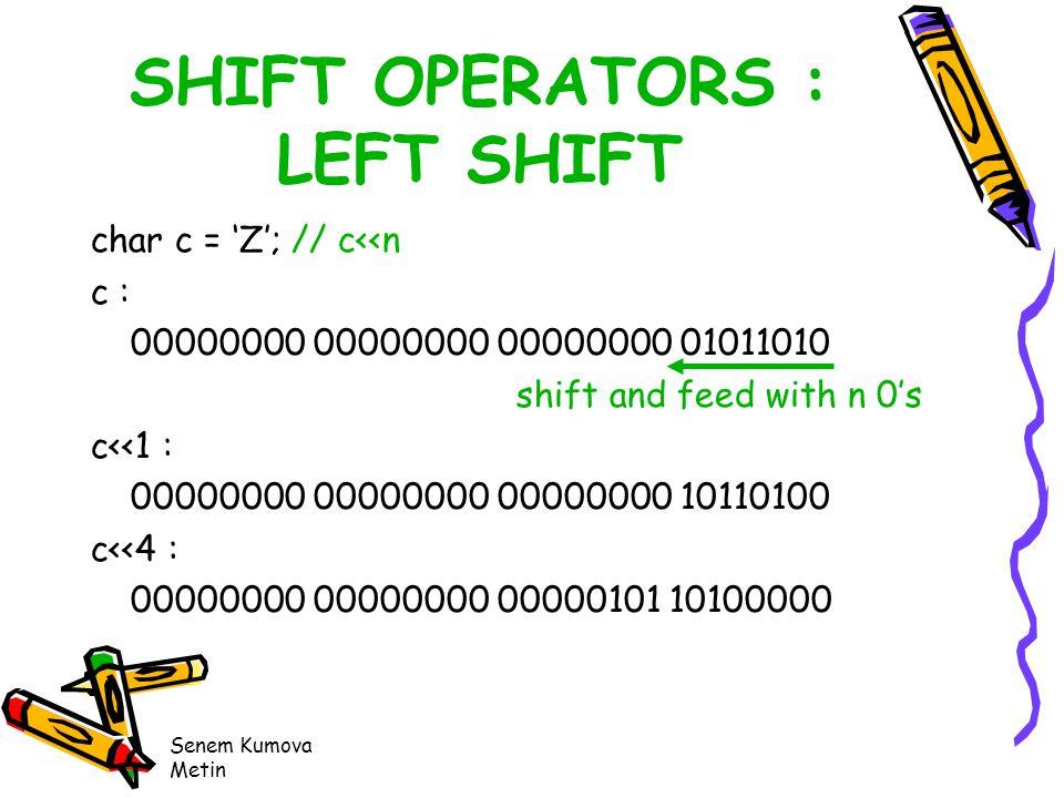 Senem Kumova Metin SHIFT OPERATORS : LEFT SHIFT char c = 'Z'; // c<<n c : 00000000 00000000 00000000 01011010 shift and feed with n 0's c<<1 : 00000000 00000000 00000000 10110100 c<<4 : 00000000 00000000 00000101 10100000
