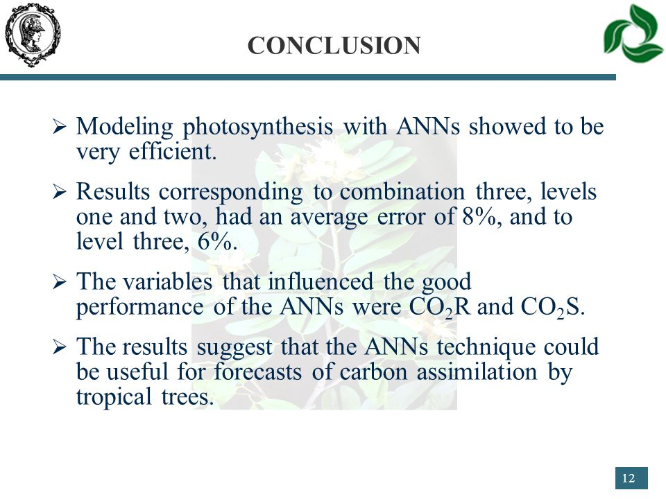 12 CONCLUSION  Modeling photosynthesis with ANNs showed to be very efficient.