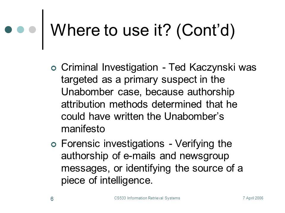 7 April 2006CS533 Information Retrieval Systems 47 How to choose k.