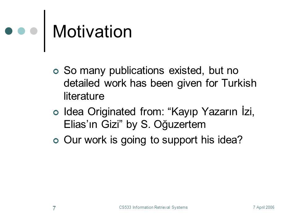 7 April 2006CS533 Information Retrieval Systems 48 How to choose k.
