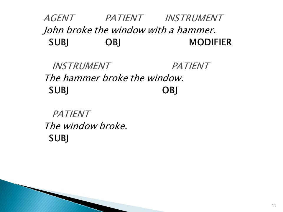 AGENT PATIENT INSTRUMENT John broke the window with a hammer.