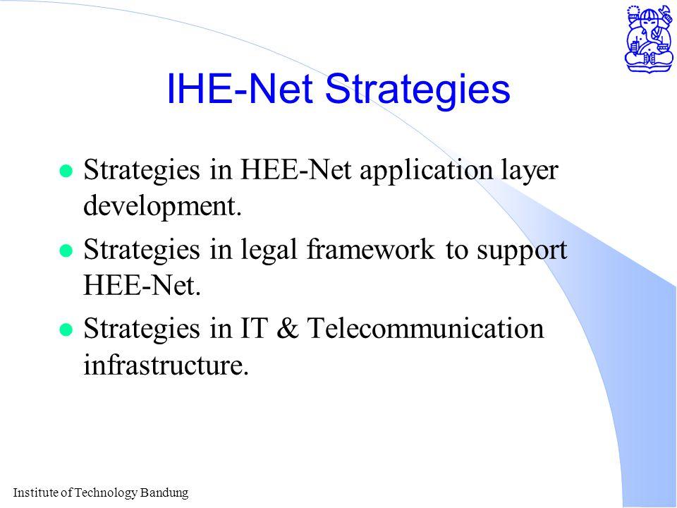 Institute of Technology Bandung IHE-Net Strategies l Strategies in HEE-Net application layer development.