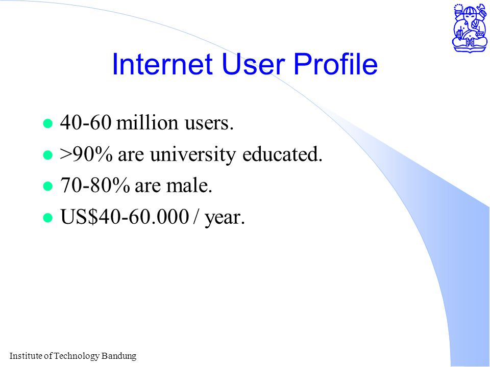 Institute of Technology Bandung Internet User Profile l 40-60 million users.