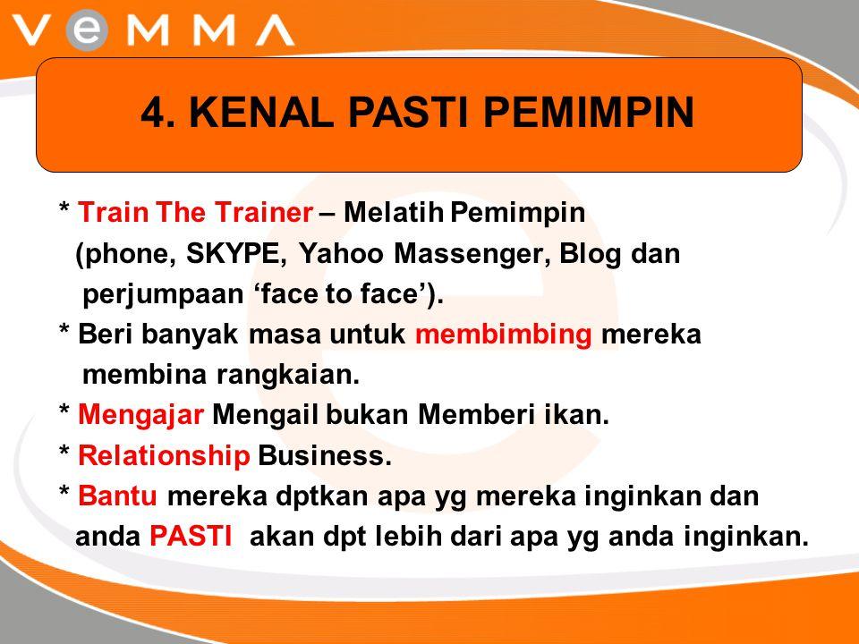 * Train The Trainer – Melatih Pemimpin (phone, SKYPE, Yahoo Massenger, Blog dan perjumpaan 'face to face'). * Beri banyak masa untuk membimbing mereka