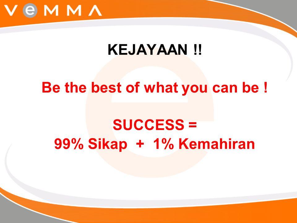 KEJAYAAN !! Be the best of what you can be ! SUCCESS = 99% Sikap + 1% Kemahiran