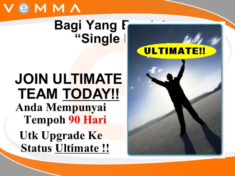 """Bagi Yang Berstatus """"Single Pack"""" Anda Mempunyai Tempoh 90 Hari Utk Upgrade Ke Status Ultimate !! JOIN ULTIMATE TEAM TODAY!!"""