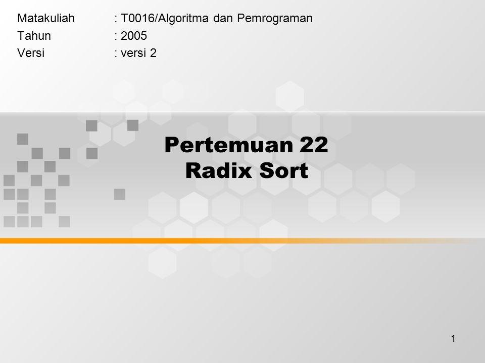 1 Pertemuan 22 Radix Sort Matakuliah: T0016/Algoritma dan Pemrograman Tahun: 2005 Versi: versi 2