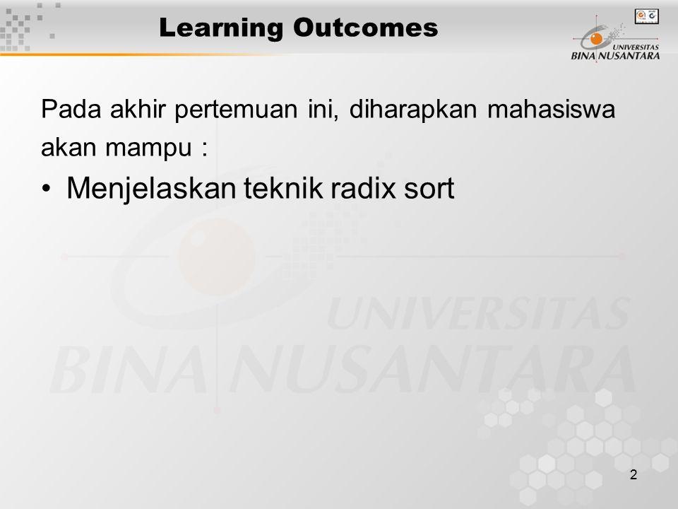2 Learning Outcomes Pada akhir pertemuan ini, diharapkan mahasiswa akan mampu : Menjelaskan teknik radix sort