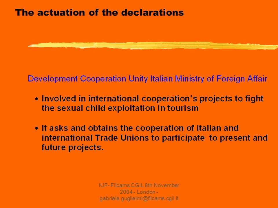 IUF- Filcams CGIL 8th November 2004 - London - gabriele.guglielmi@filcams.cgil.it EBIT and Corporate Social Responsability EBIT is formed by Trade Unions and Tourism's Enterprises Association and has involved CSR on severals aspects: -experiences on sustainable development i.e.