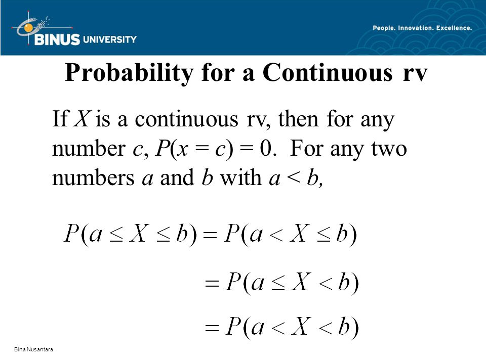 Bina Nusantara Probability for a Continuous rv If X is a continuous rv, then for any number c, P(x = c) = 0.