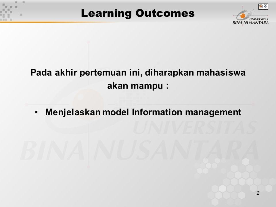 2 Learning Outcomes Pada akhir pertemuan ini, diharapkan mahasiswa akan mampu : Menjelaskan model Information management