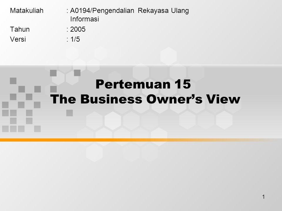 1 Pertemuan 15 The Business Owner's View Matakuliah: A0194/Pengendalian Rekayasa Ulang Informasi Tahun: 2005 Versi: 1/5