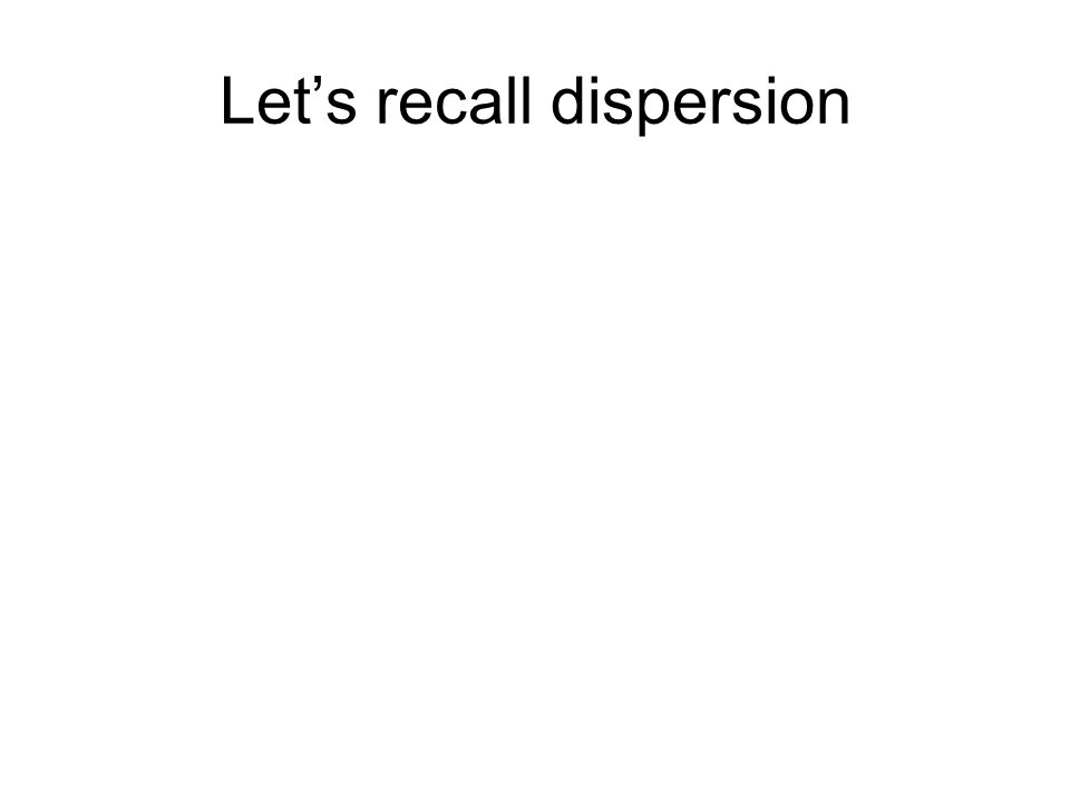 Let's recall dispersion