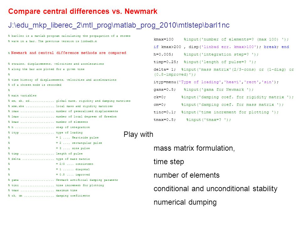 Compare central differences vs.