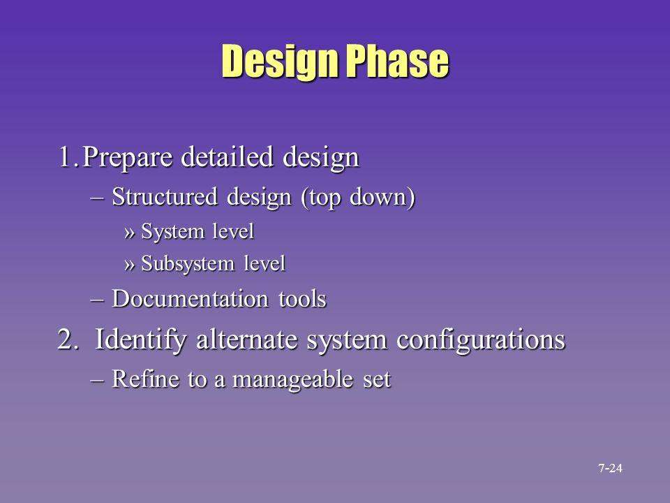 Design Phase 1.Prepare detailed design –Structured design (top down) »System level »Subsystem level –Documentation tools 2. Identify alternate system