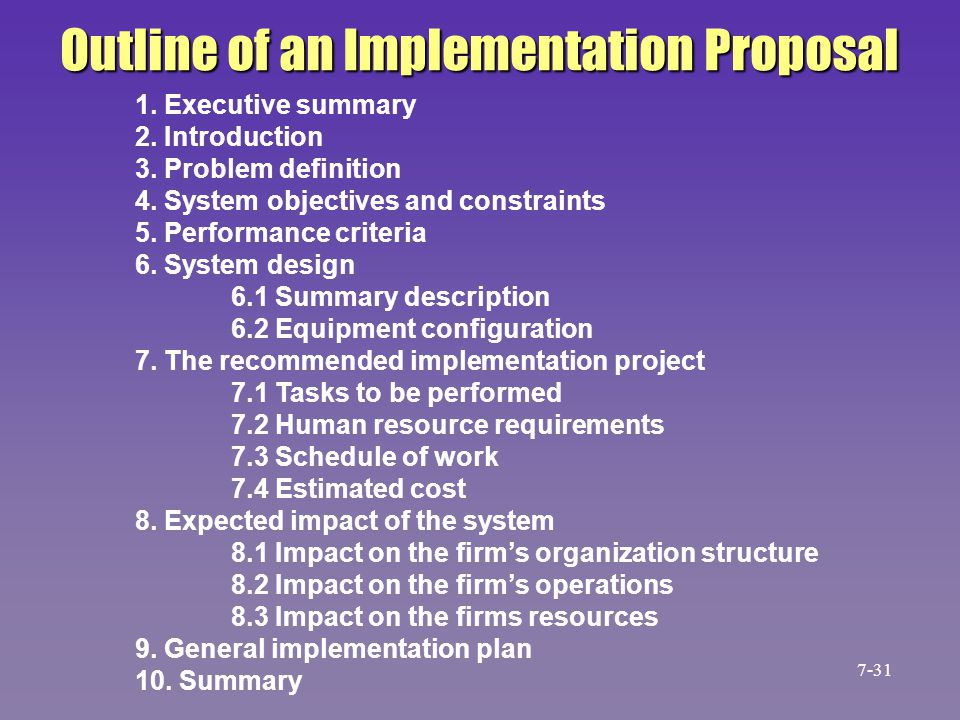 1. Executive summary 2. Introduction 3. Problem definition 4. System objectives and constraints 5. Performance criteria 6. System design 6.1 Summary d
